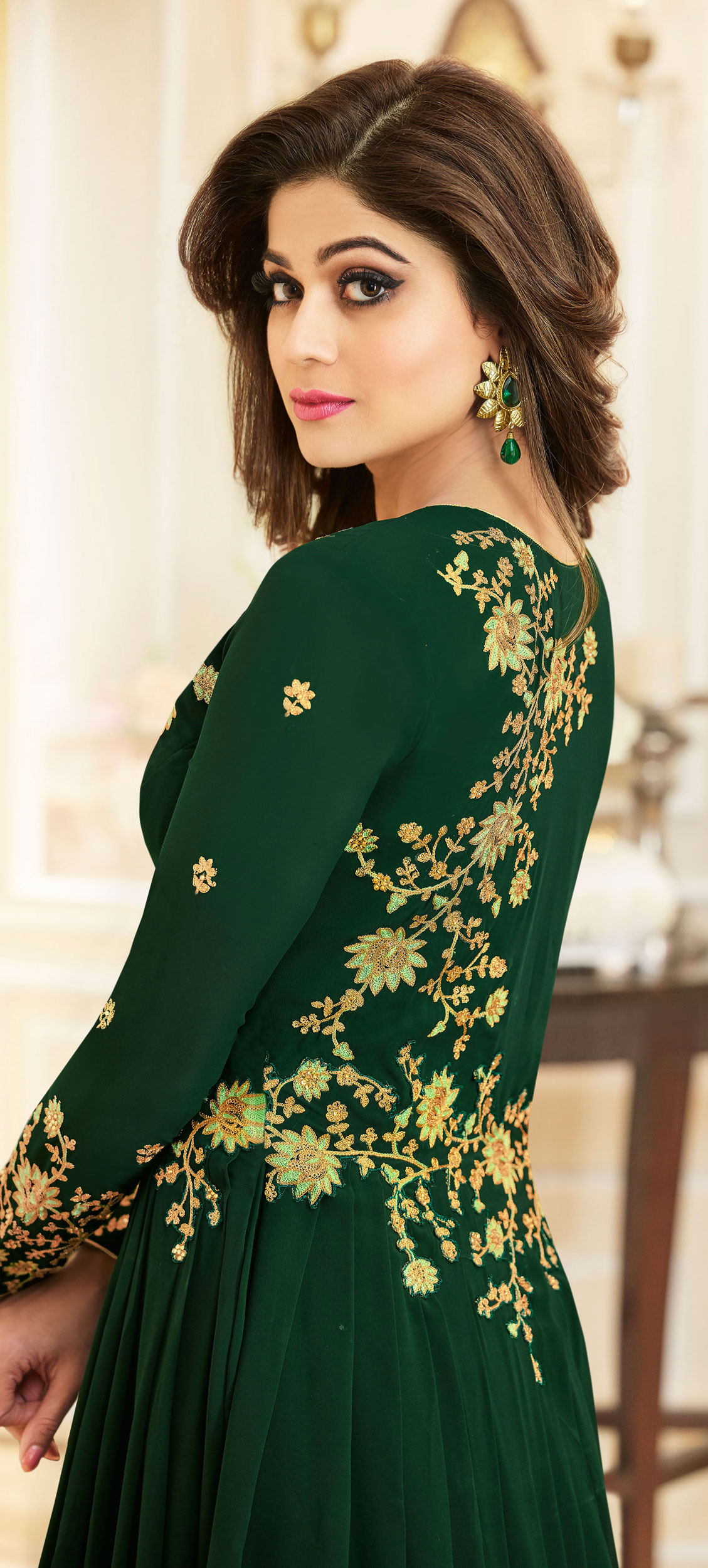 Delightful Green Colored Designer Embroidered Georgette Anarkali Suit