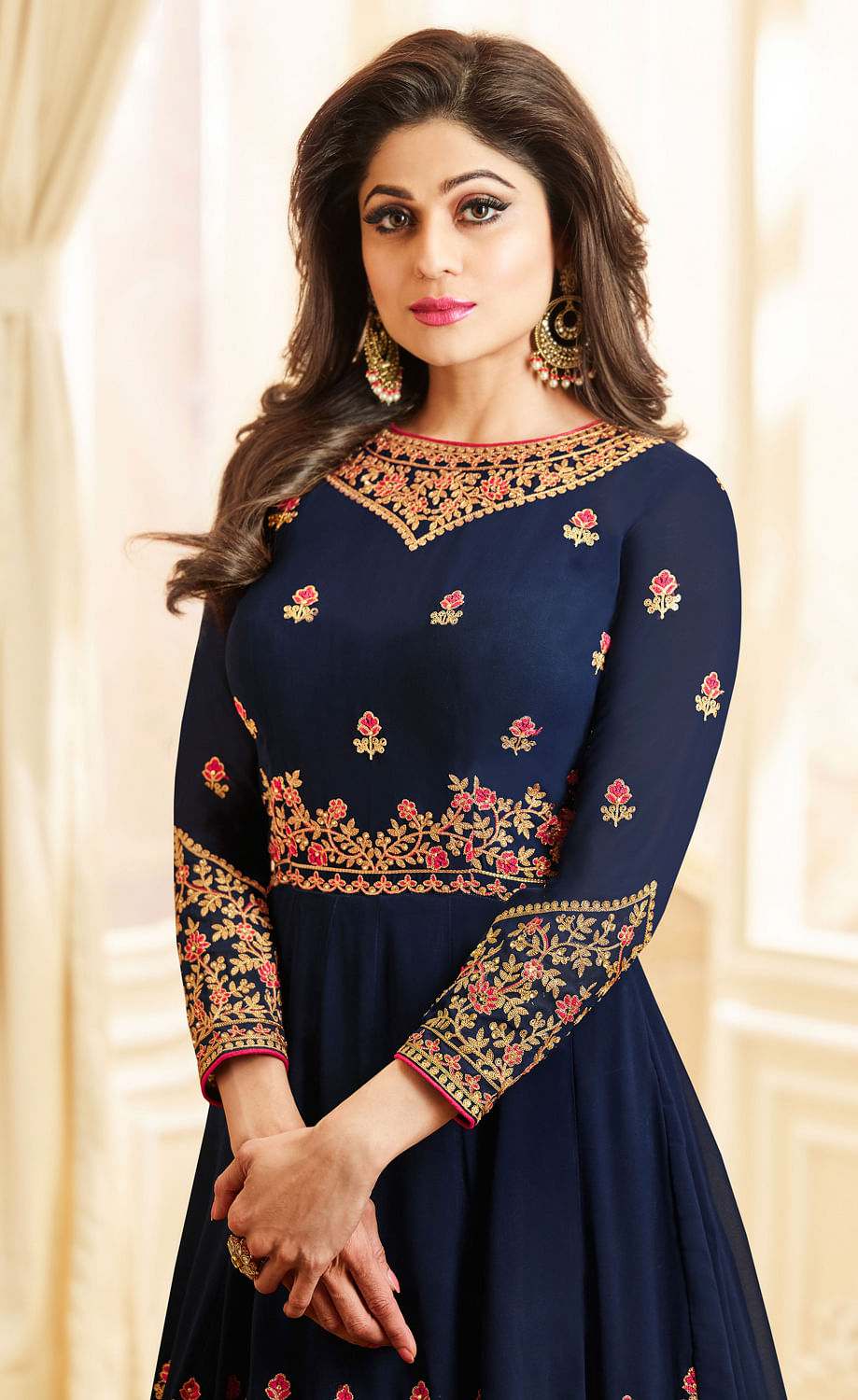 Ravishing Blue Colored Designer Embroidered Georgette Anarkali Suit