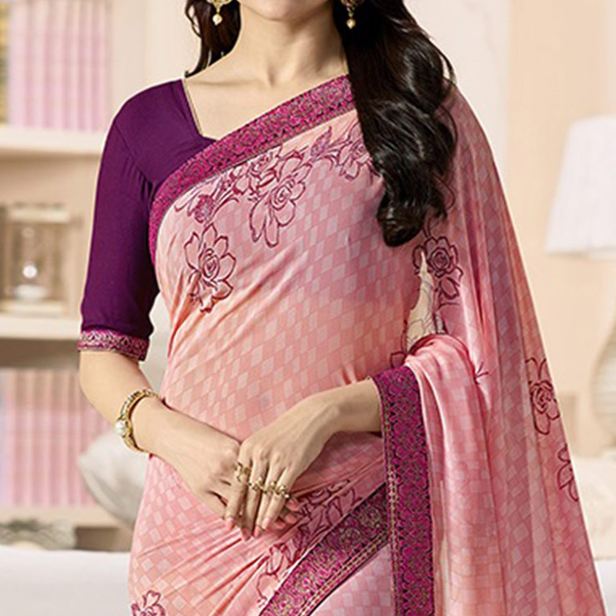 Peach - Wine Floral Printed Georgette Saree