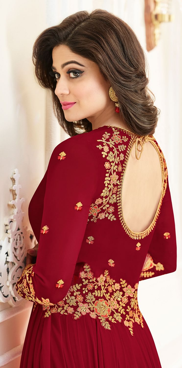 Attractive Red Colored Designer Embroidered Georgette Anarkali Suit