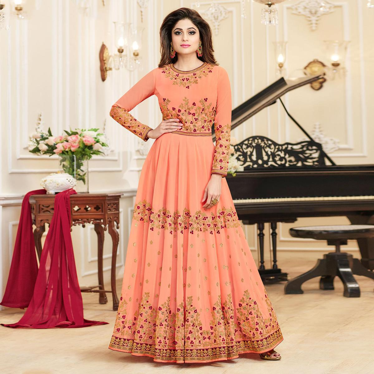 Marvellous Peach Colored Designer Embroidered Georgette Anarkali Suit