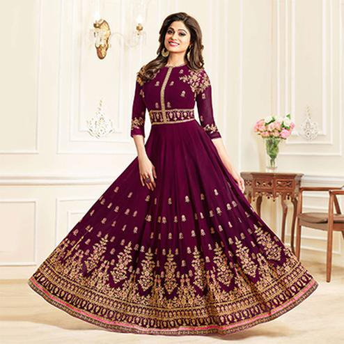 Pretty Violet Colored Designer Embroidered Georgette Anarkali Suit