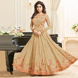 Glorious Beige Colored Designer Embroidered Georgette Anarkali Suit