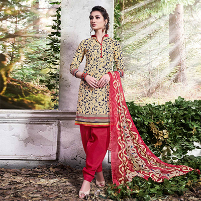 Classy Beige Colored Printed Cotton Dress Material