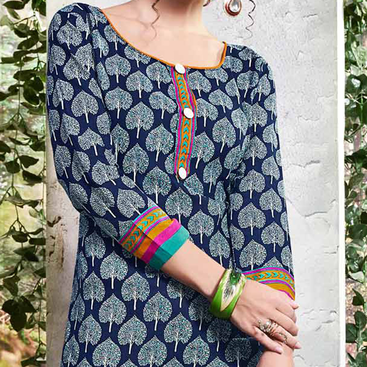 Navy Blue Colored Printed Cotton Dress Material
