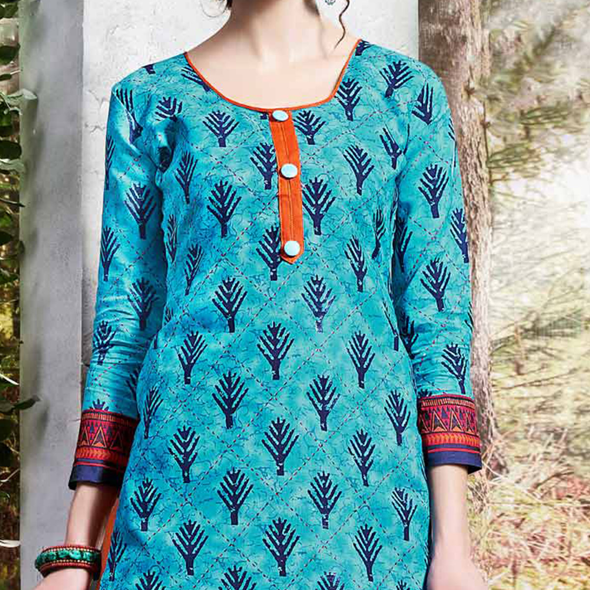 Sky Blue Colored Printed Cotton Dress Material