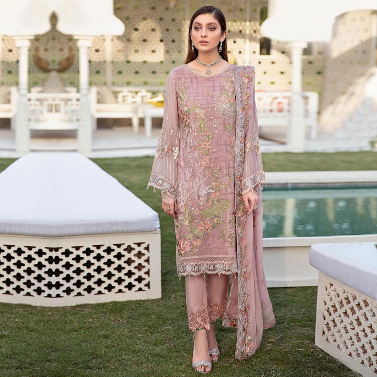 Pink Partywear Embroidered Georgette Pakistani Style Suit