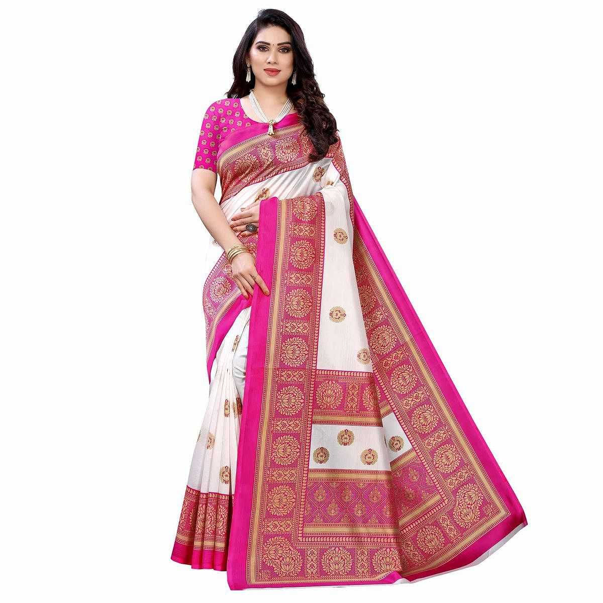 White - Pink Casual Wear Printed Art Silk Saree With Border