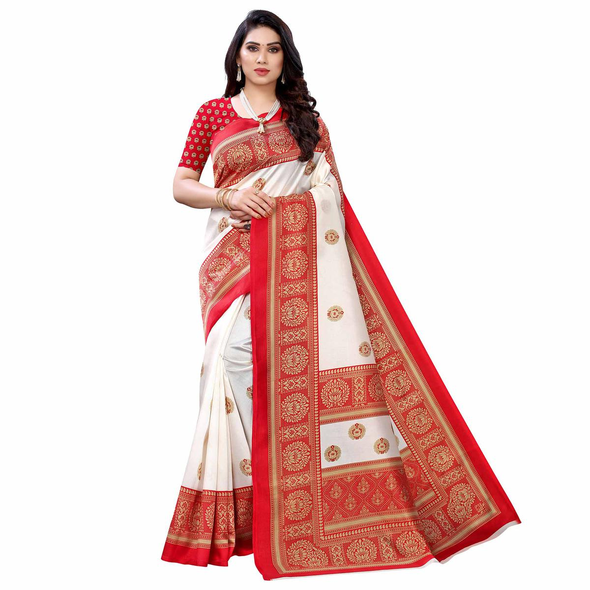 White - Red Casual Wear Printed Art Silk Saree With Border