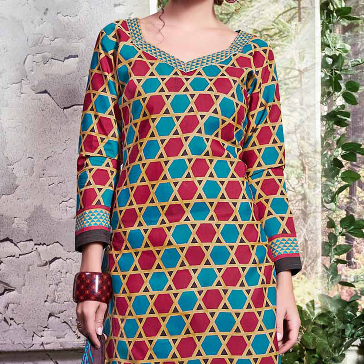 Blue - Red Colored Printed Cotton Dress Material