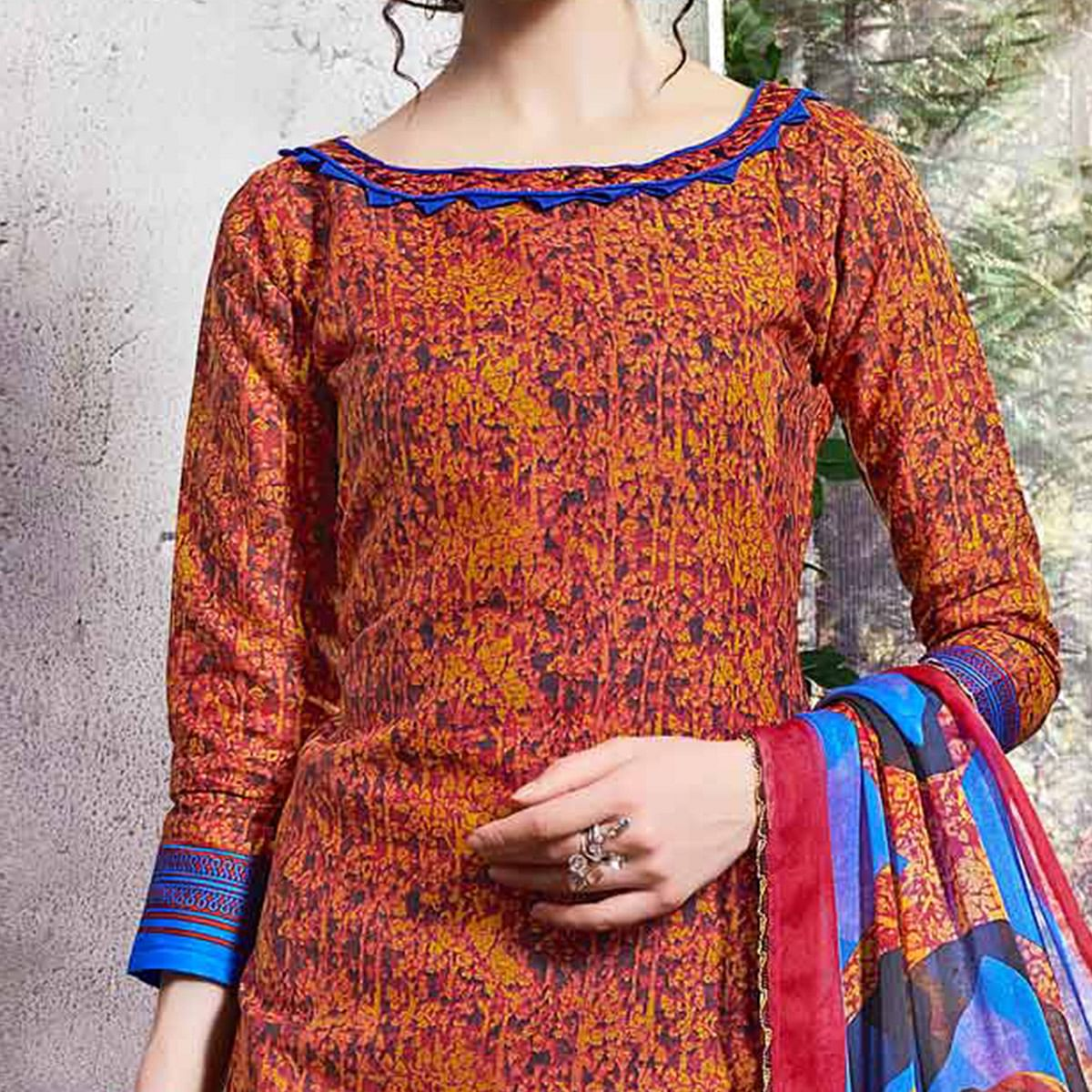 Orange Colored Printed Cotton Dress Material