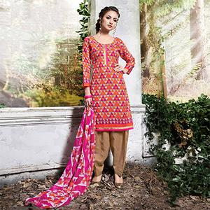Orange - Pink Colored Printed Cotton Dress Material