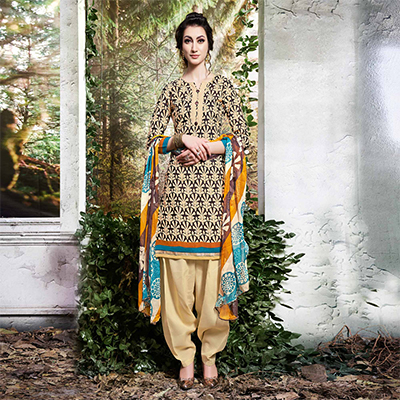 Beige Colored Printed Cotton Dress Material