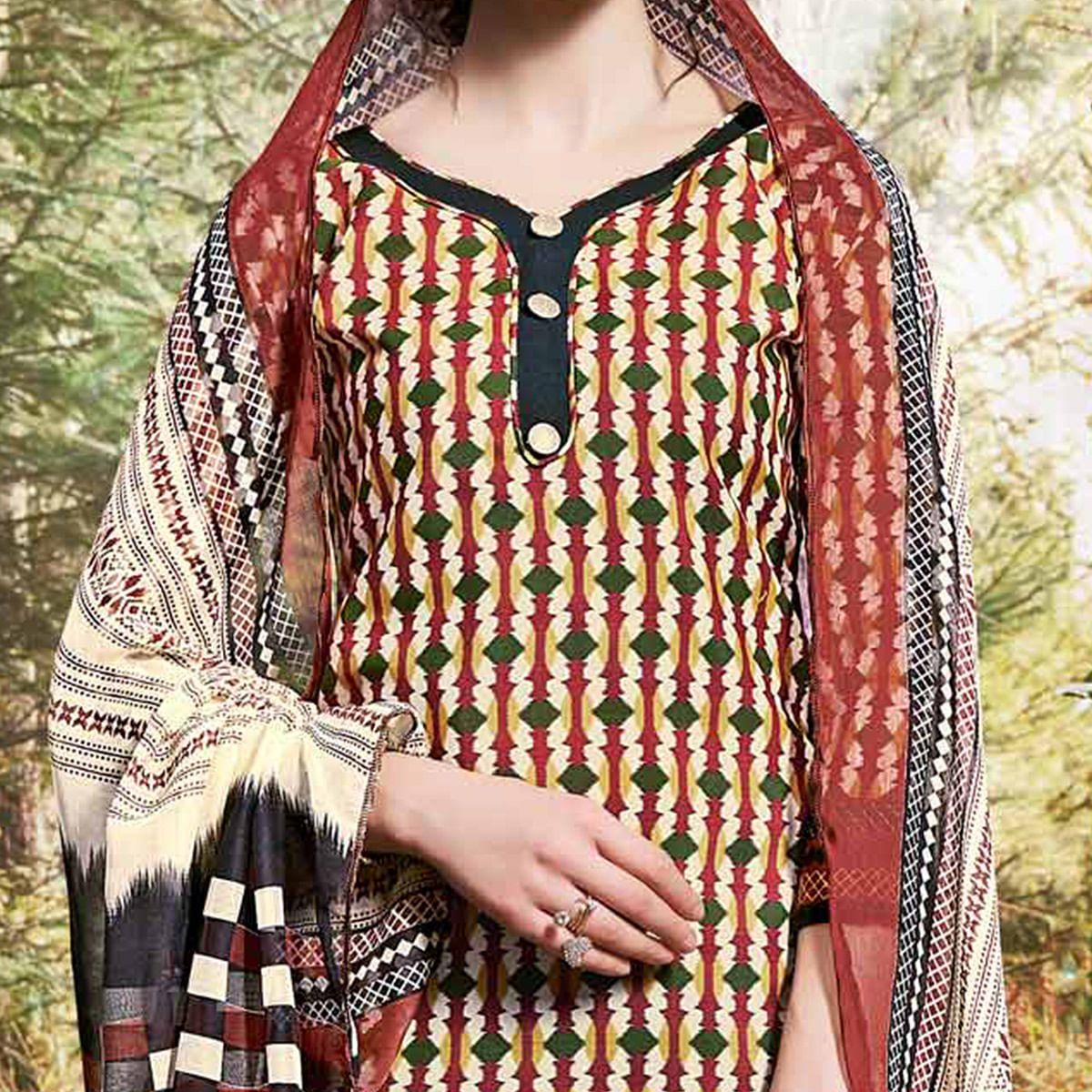 Beige - Black Colored Printed Cotton Dress Material