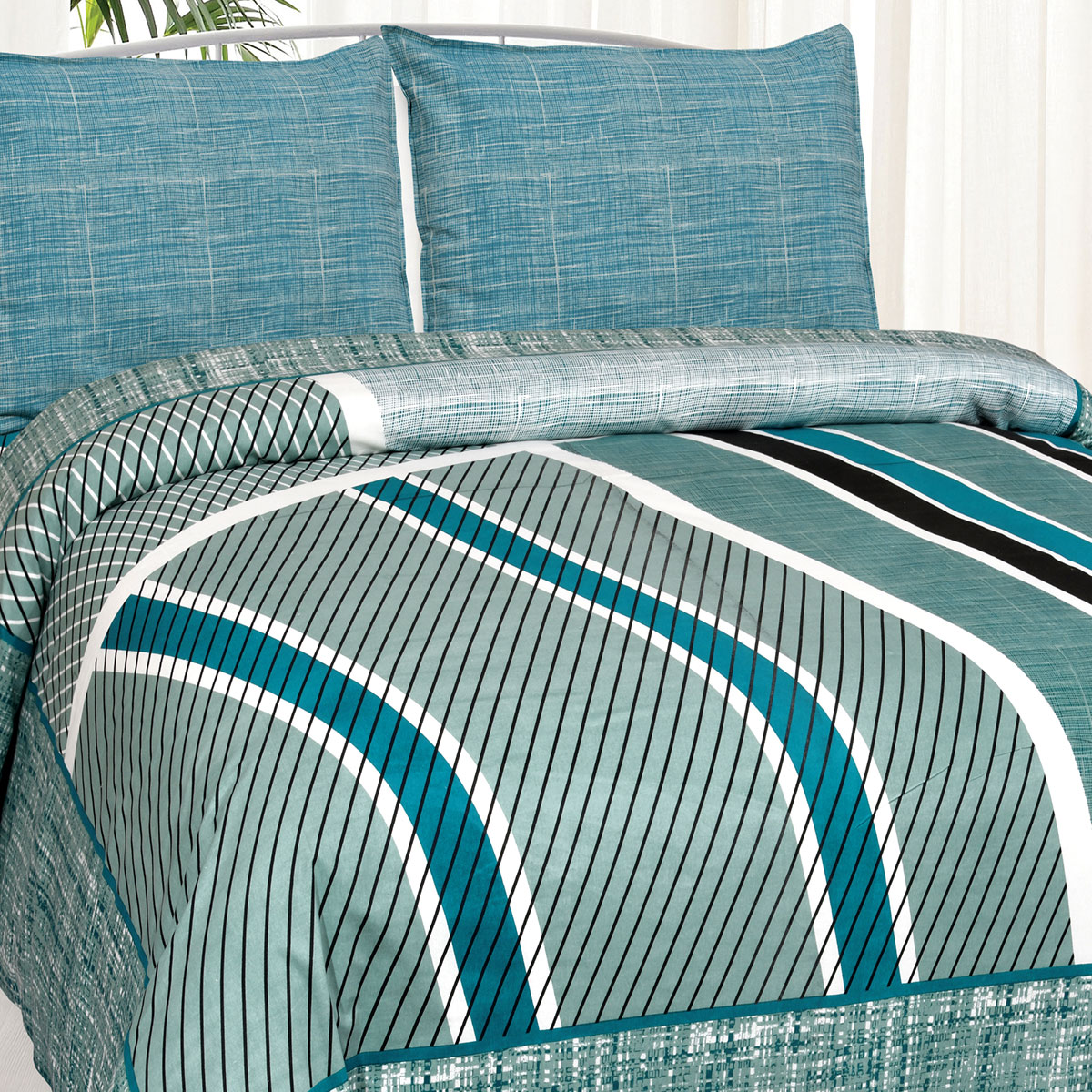 Jaipur Fabric Sea Green Classic Trendy Cotton Double Bedsheet With Two Pillow Cover