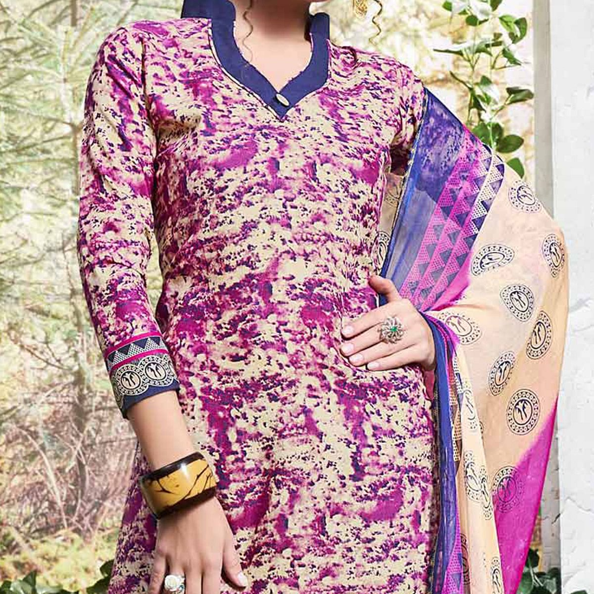 Purple Colored Printed Cotton Dress Material