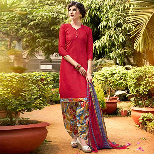 Red  Colored Casual Wear Printed jacquard Salwar Suit