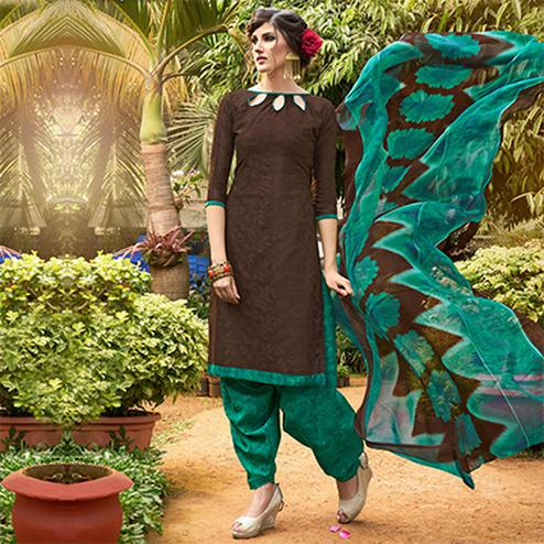 Brown Colored Casual Wear Printed jacquard Salwar Suit