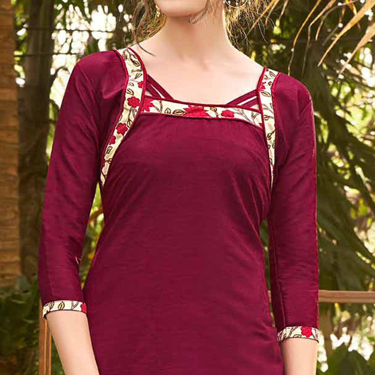 Maroon Colored Casual Wear Printed jacquard Salwar Suit