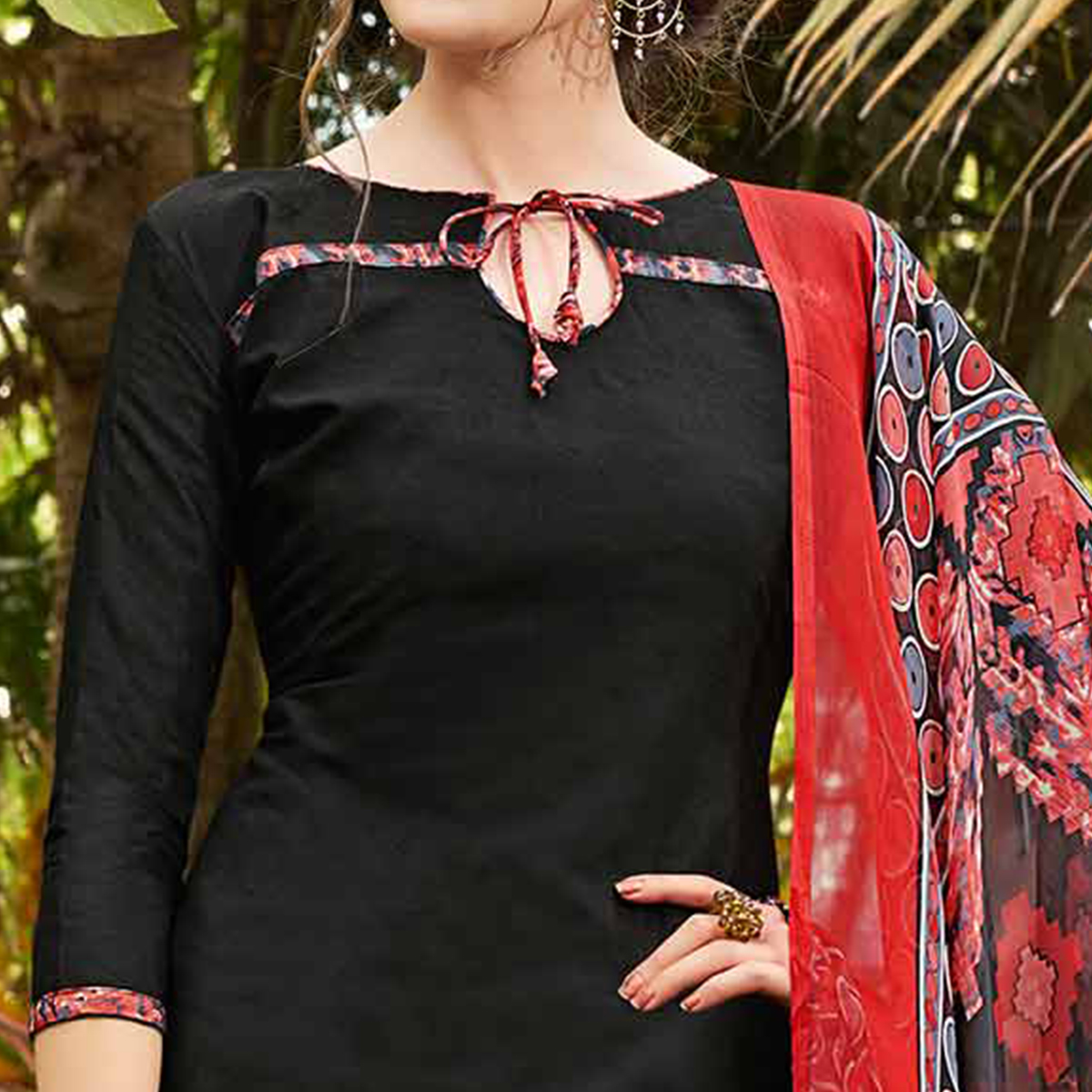 Black Colored Casual Wear Printed jacquard Salwar Suit