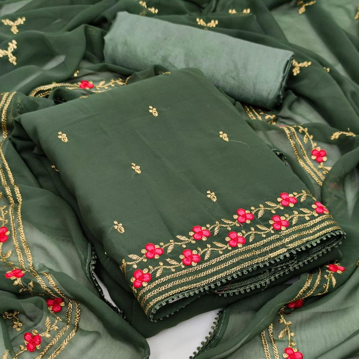 Green Casual Wear Floral Embroidery Work Georgette Dress Material