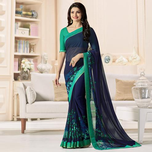 Navy Blue - Green Floral Printed Saree