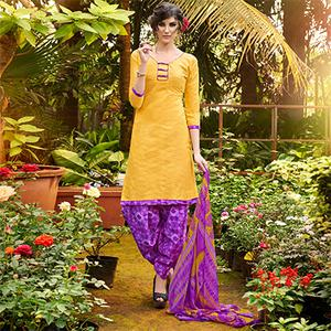 Yellow Colored Casual Wear Printed jacquard Salwar Suit