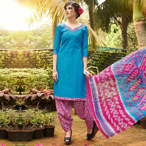 Blue Colored Casual Wear Printed jacquard Salwar Suit