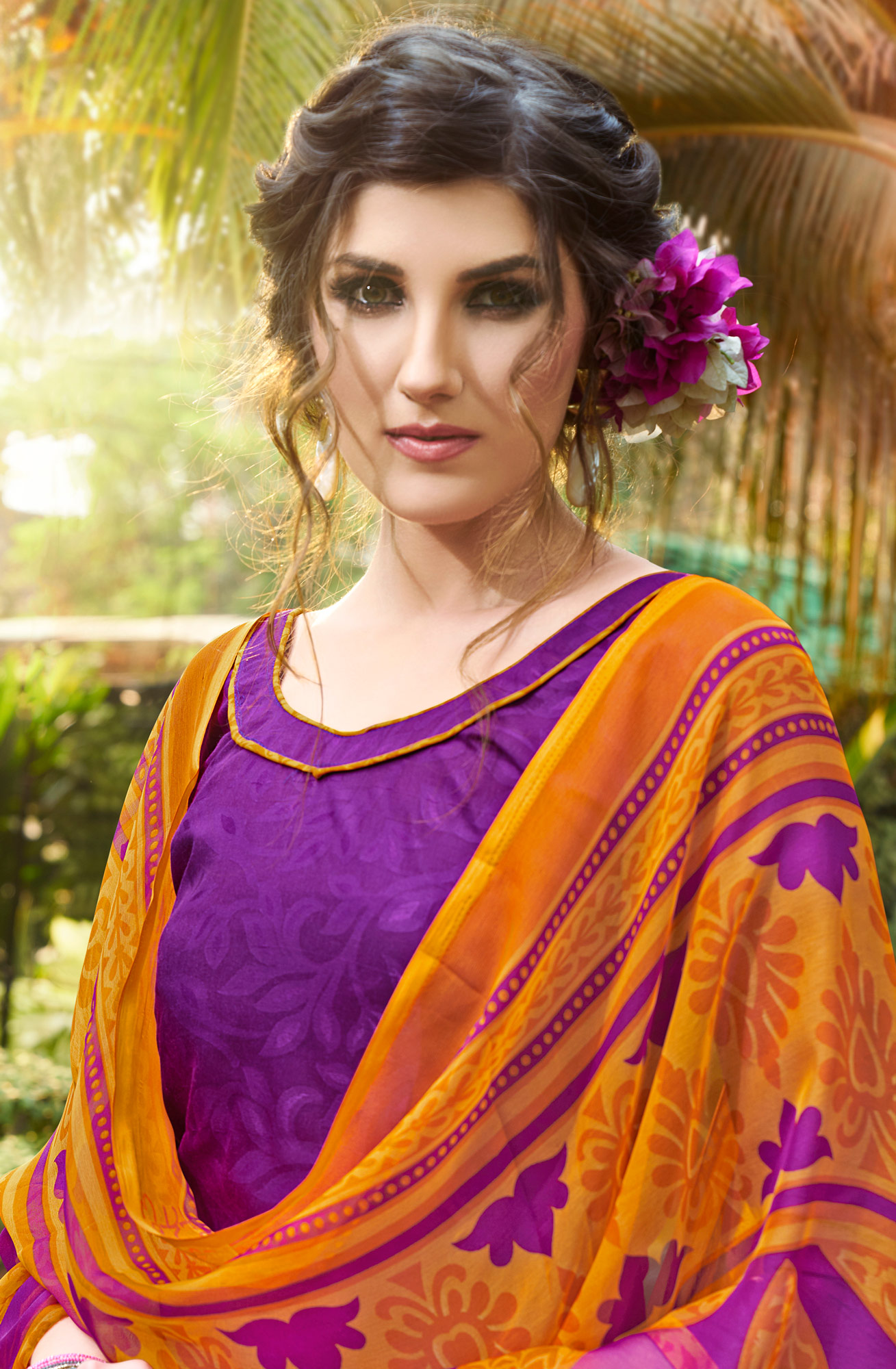 Purple Colored Casual Wear Printed jacquard Salwar Suit