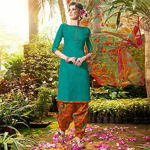Rama Green Colored Casual Wear Printed jacquard Salwar Suit