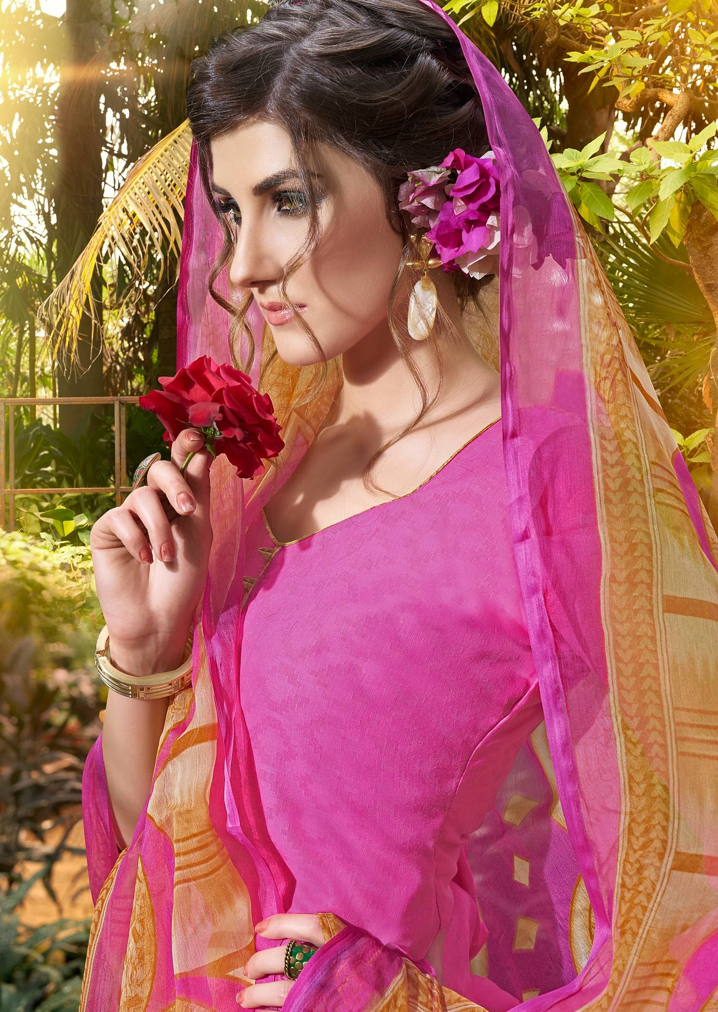 Pink Colored Casual Wear Printed jacquard Salwar Suit