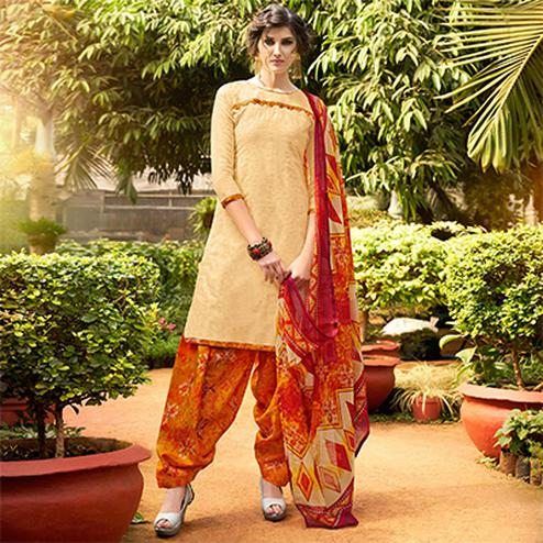 Cream Colored Casual Wear Printed jacquard Salwar Suit