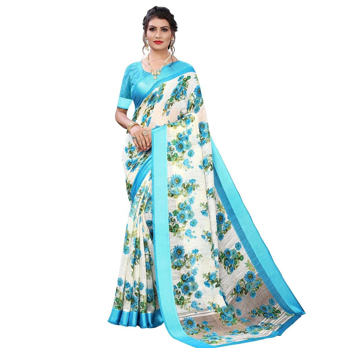 White-Blue Casual Wear Floral Printed Linen Satin Saree