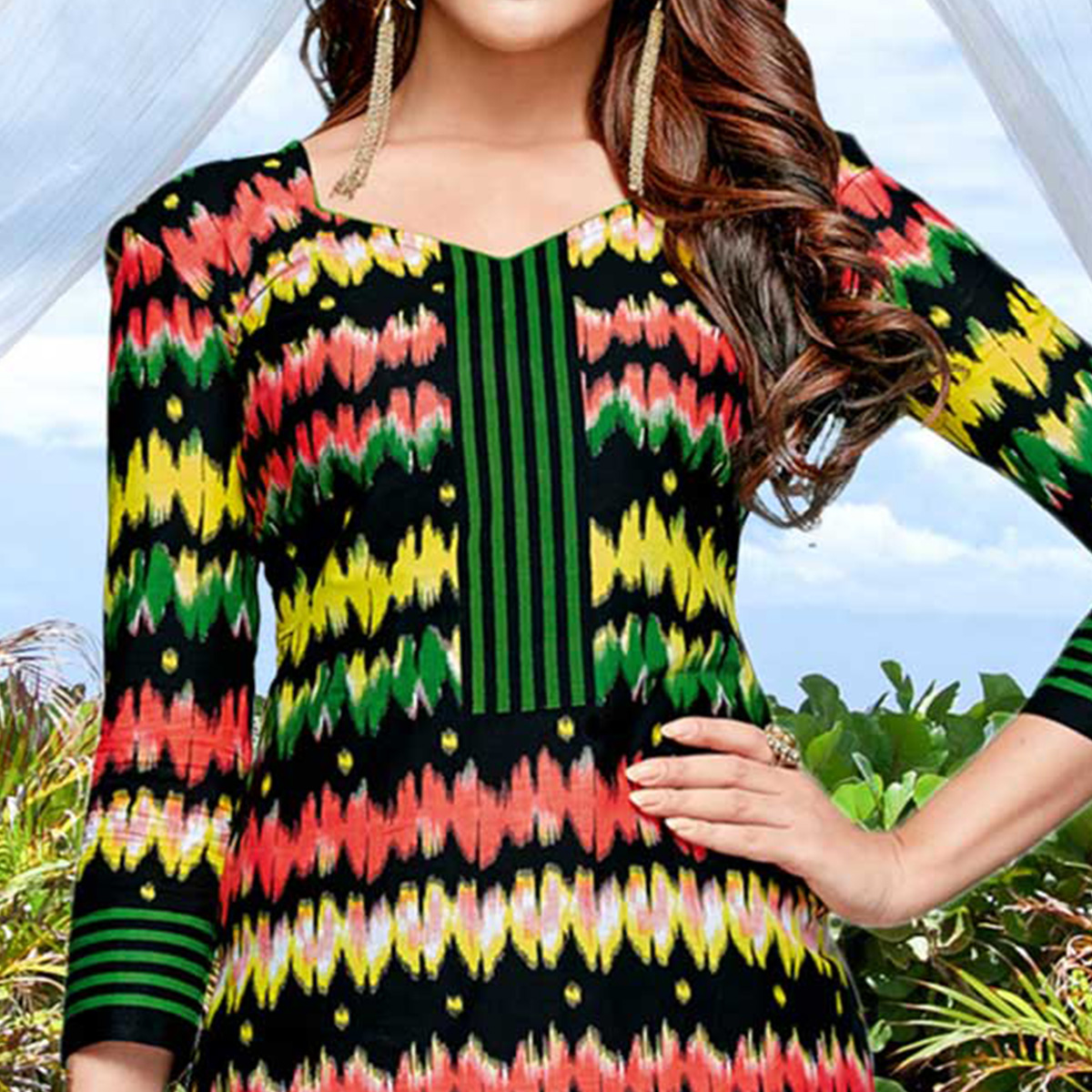 Multicolored Casual Wear Printed Cotton Dress Material