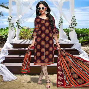 Maroon Casual Wear Printed Cotton Dress Material
