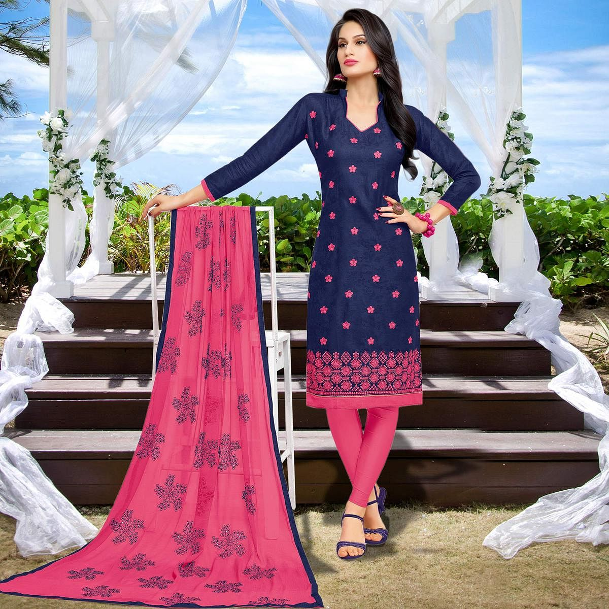 Navy Blue Casual Wear Embroidered Work Cotton Dress Material