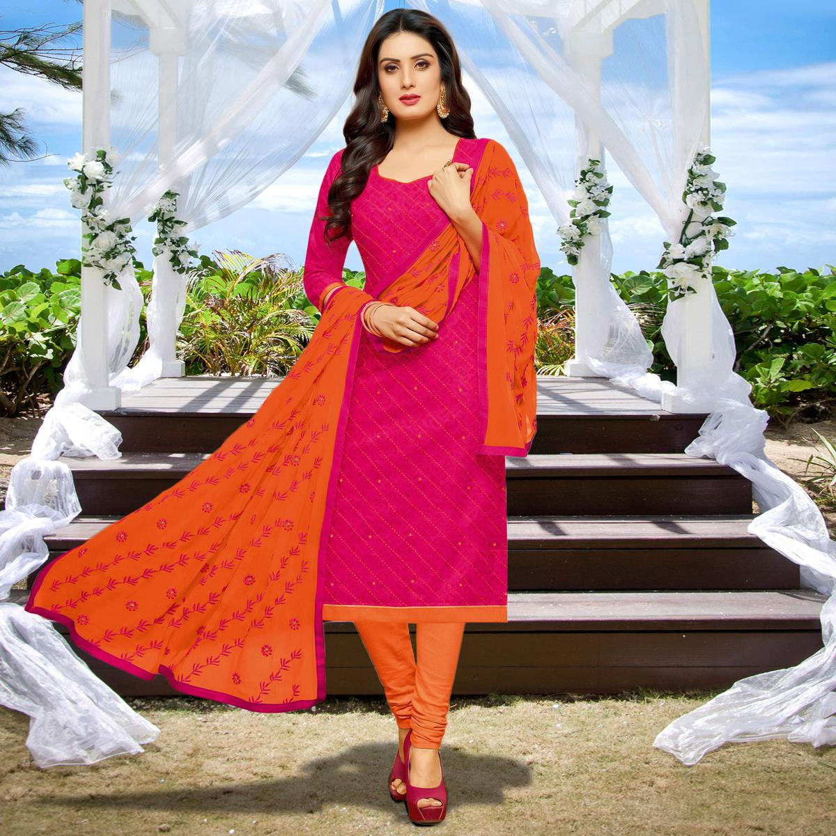 Pink Casual Embroidered Work Tissue Cotton Dress Material