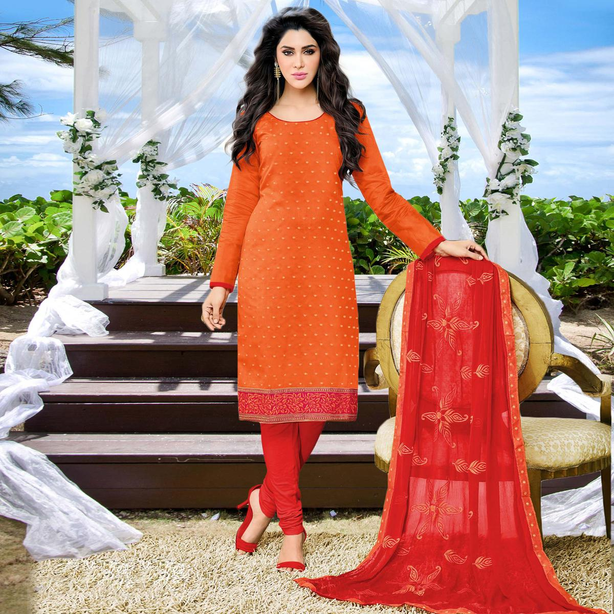 Orange Casual Embroidered Work Chanderi Silk Dress Material