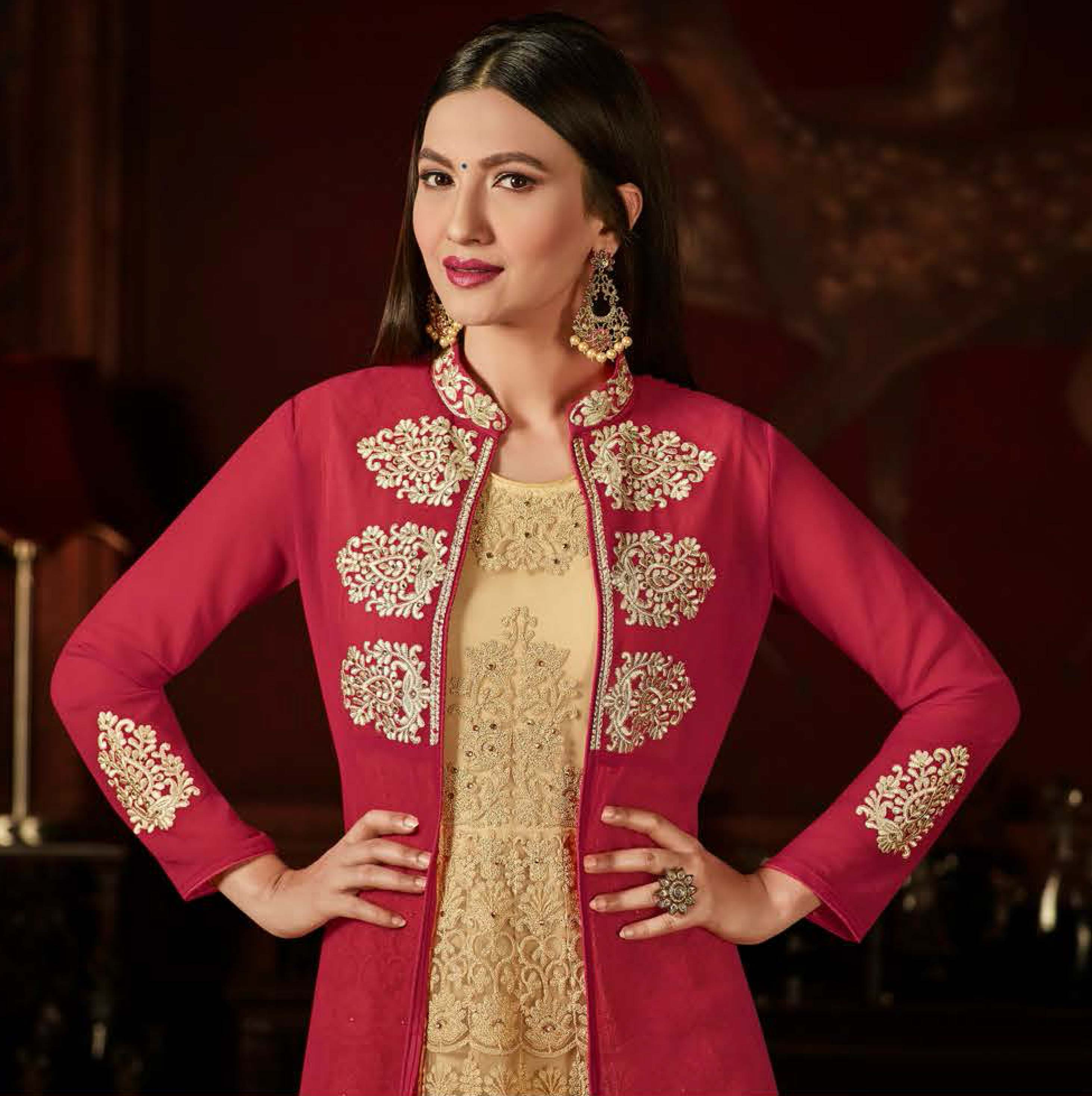 Mystic Hot Pink-Cream Colored Designer Embroidered Anarkali Suit