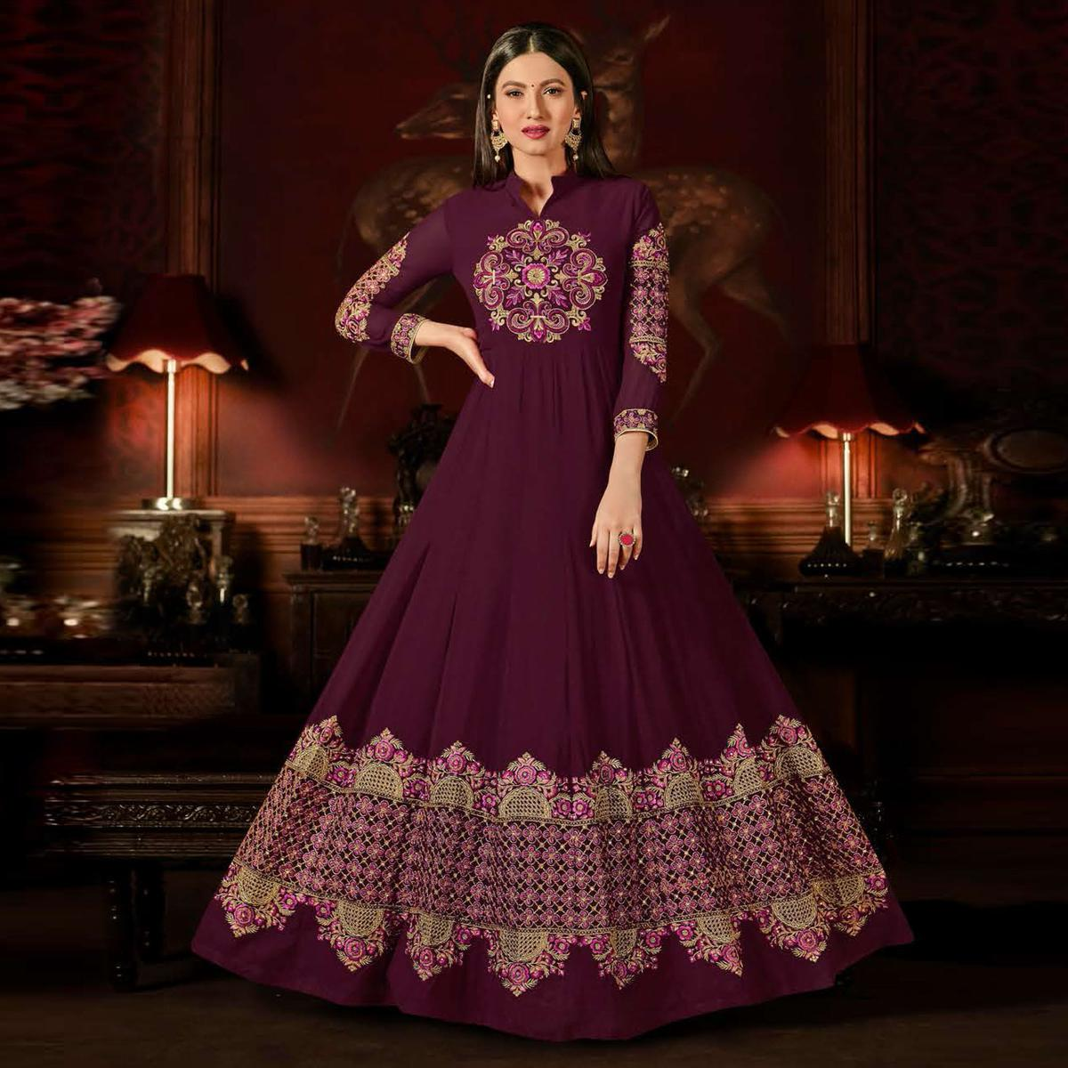 Remarkable Magenta Colored Designer Embroidered Anarkali Suit