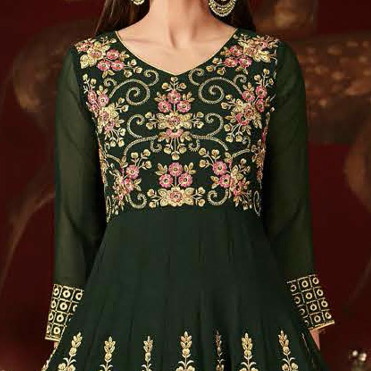 Tiptop Green Colored Designer Embroidered Anarkali Suit