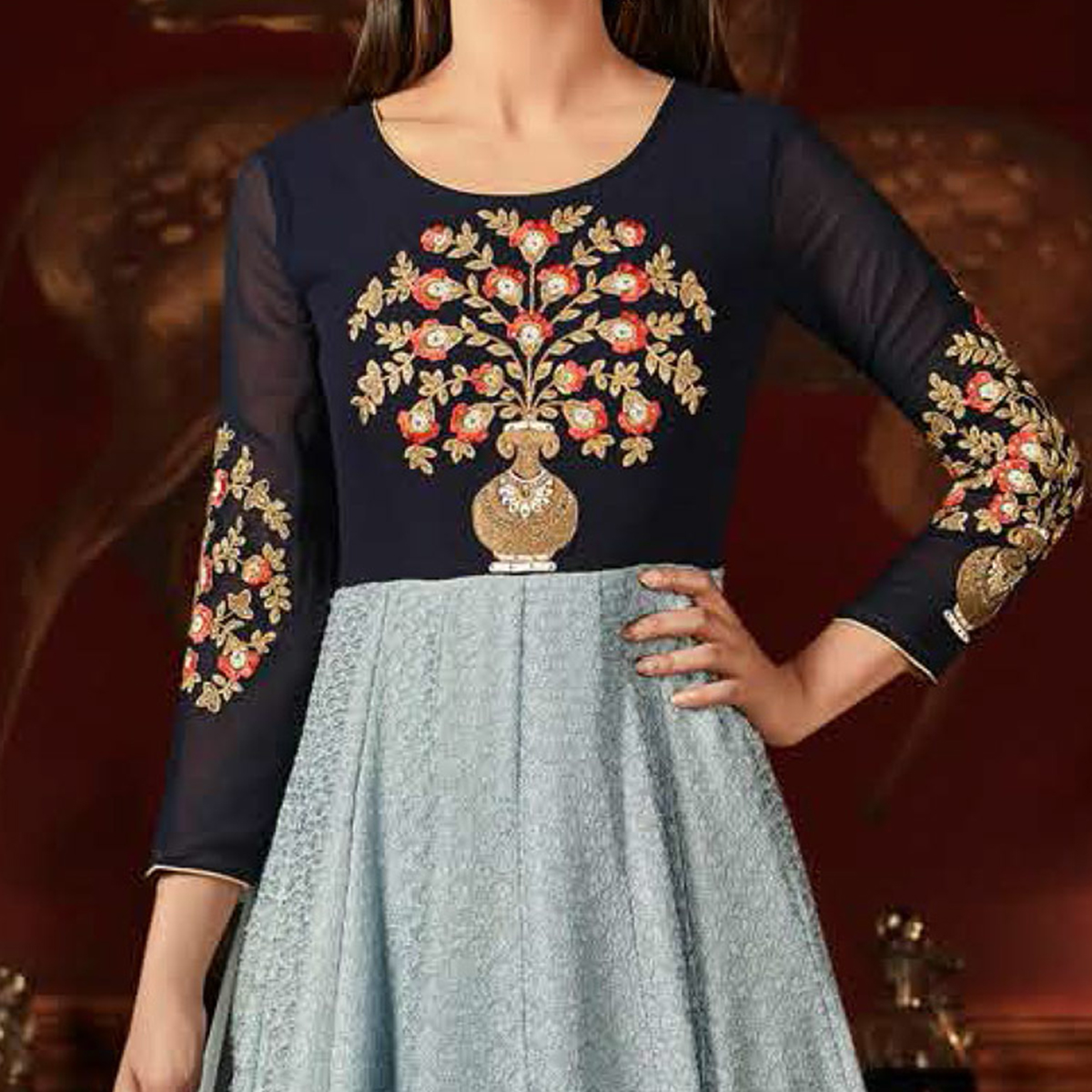 Groovy Navy Blue-Grey Colored Designer Embroidered Anarkali Suit