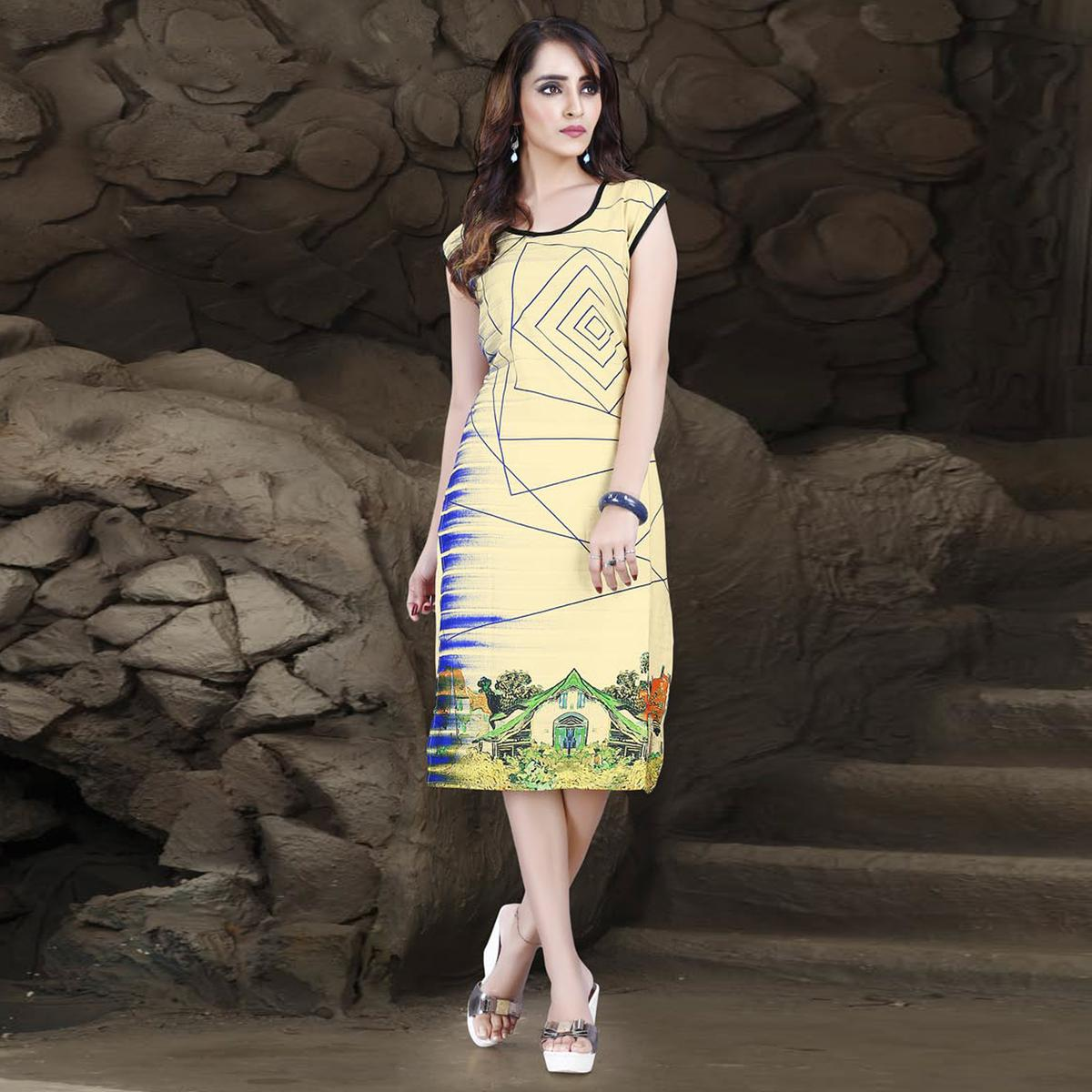 Yellow Digital Printed Kurti