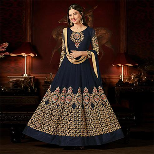 Deserving Navy Blue Colored Designer Embroidered Anarkali Suit