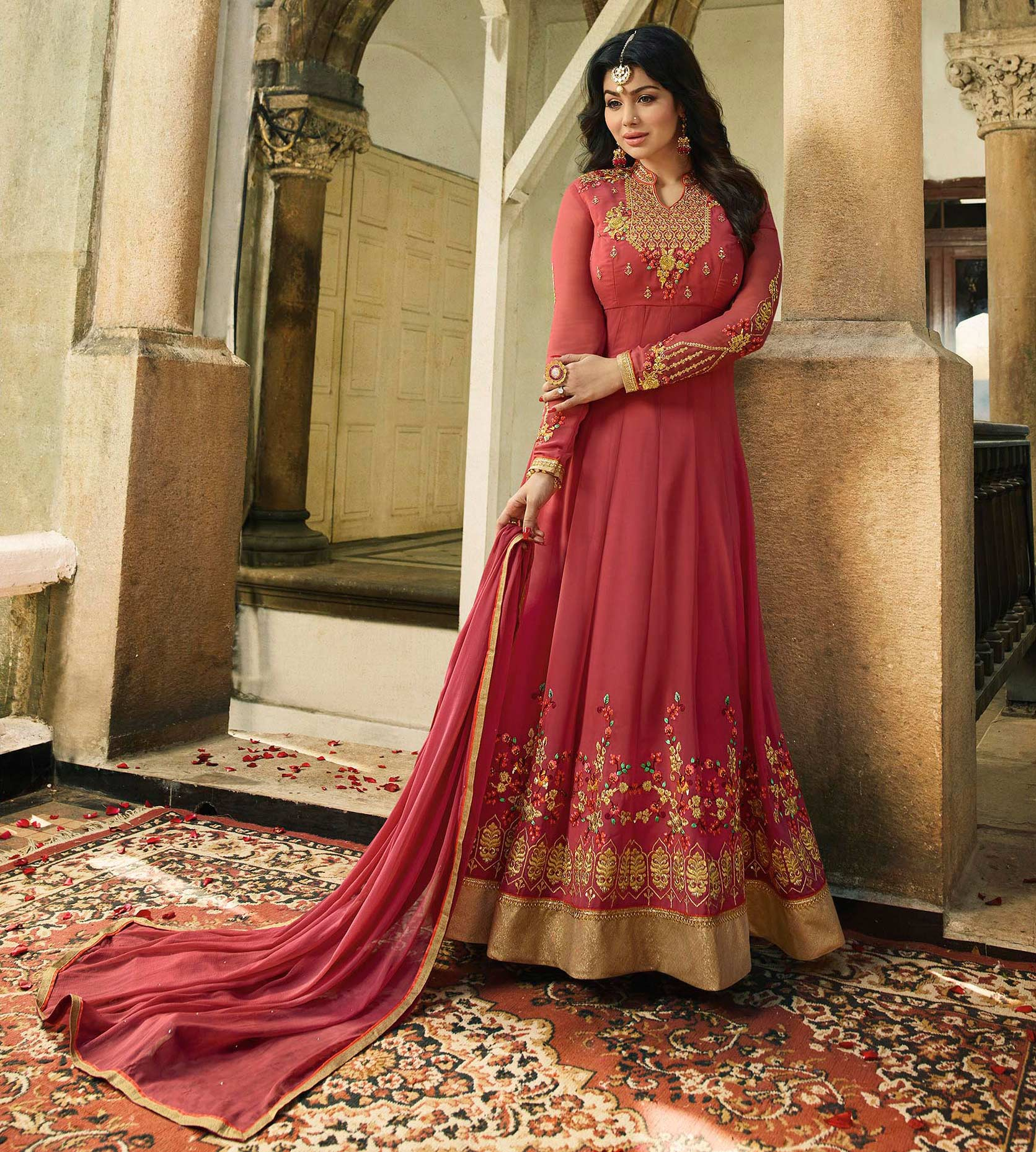Ravishing Pink  Embroidered Work Party Wear Faux Georgette Anarkali Suit