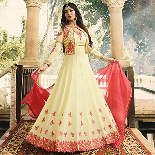 Adorable Cream Embroidered Work Party Wear Faux Georgette Anarkali Suit
