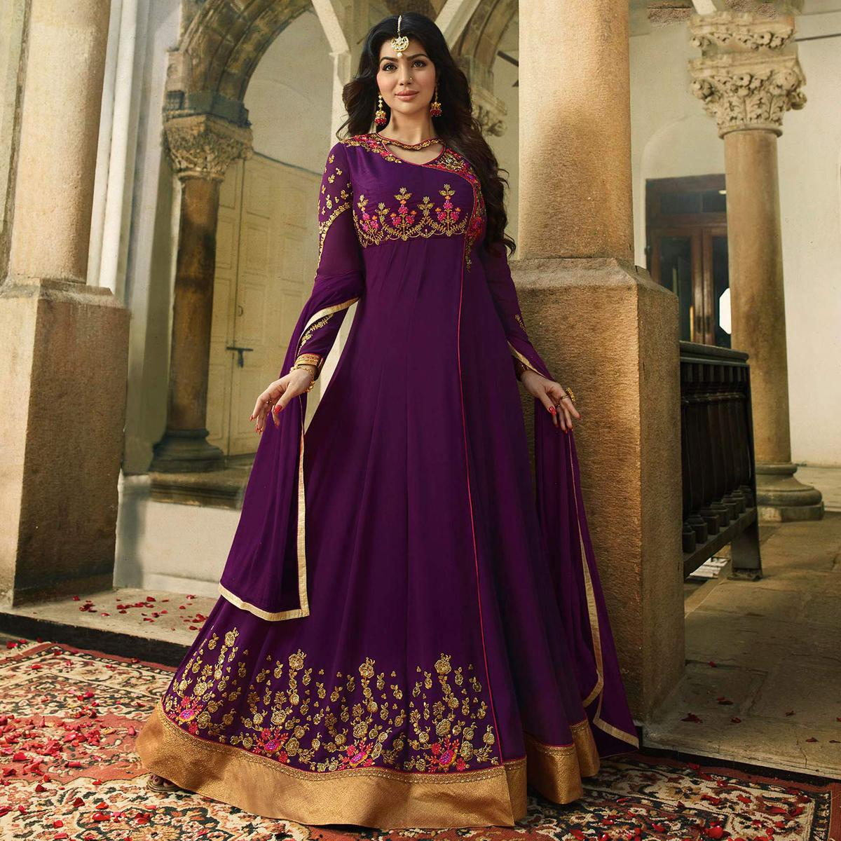 Attractive Violet Embroidered Work Party Wear Georgette Anarkali Suit