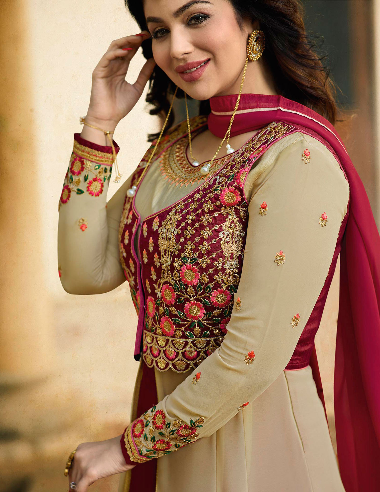 Graceful Beige Embroidered Work Party Wear Georgette Anarkali Suit