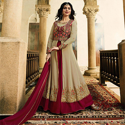 Graceful Beige Embroidered Work Party Wear Faux Georgette Anarkali Suit