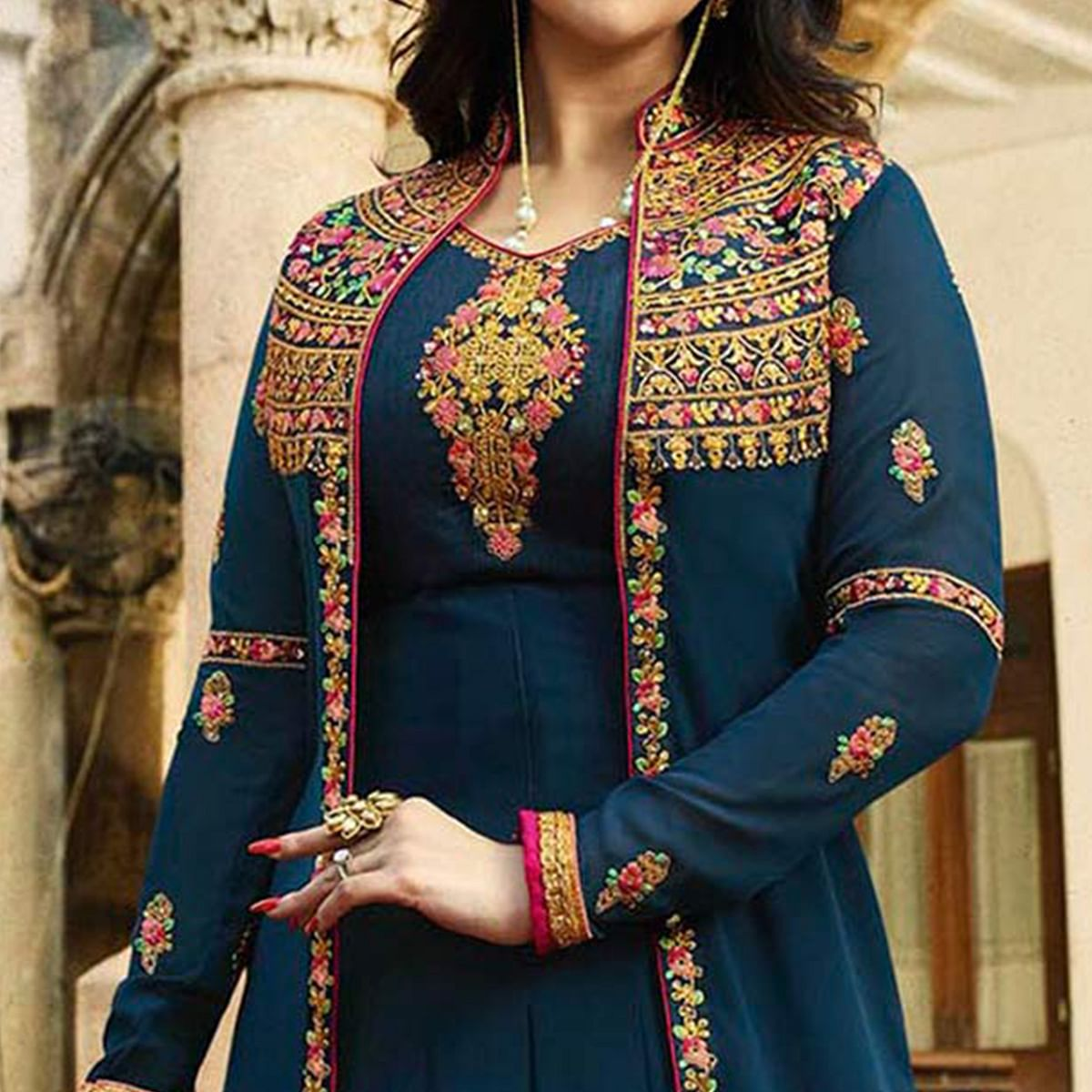 Charming Navy Blue Embroidered Work Party Wear Faux Georgette Anarkali Suit